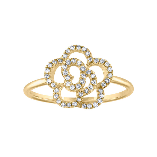 14KT GOLD DIAMOND FLOWER RING
