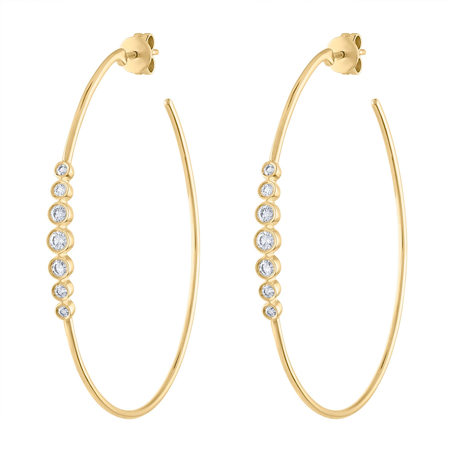 14k Yellow Gold diamond 7 bezel large hoop earring