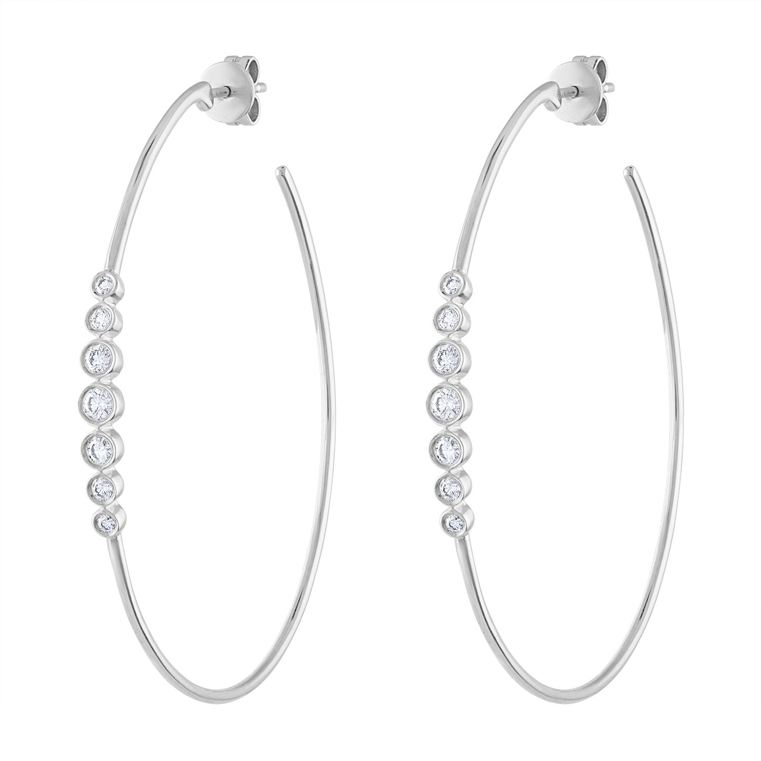 14k White Gold diamond 7 bezel large hoop earring