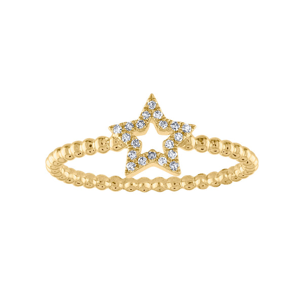 14KT GOLD DIAMOND OPEN STAR BEAD RING