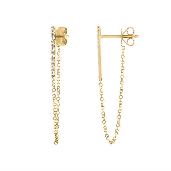 14KT GOLD DIAMOND BAR CHAIN EARRING