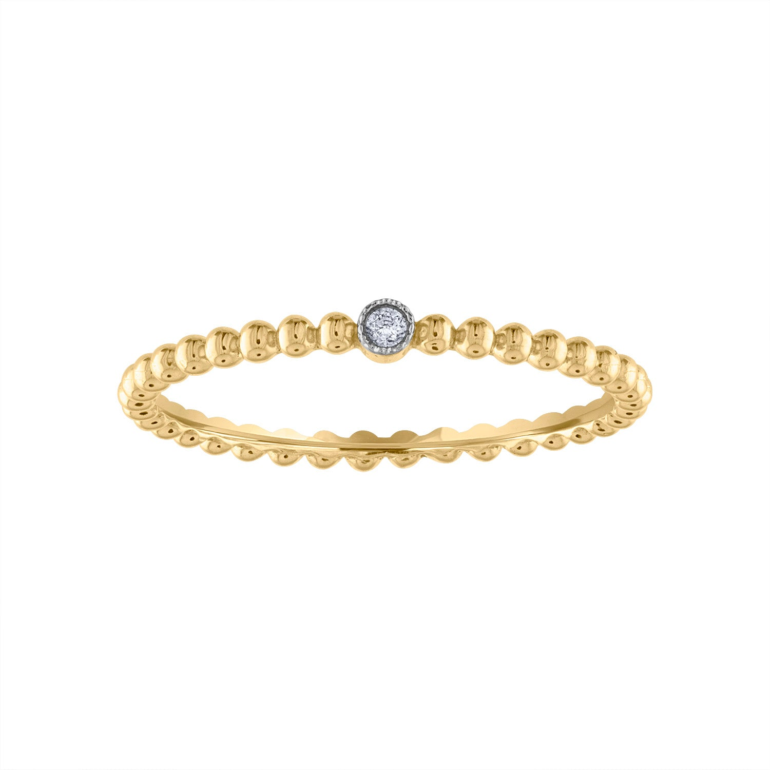 14KT GOLD DIAMOND MINI BEZEL BALL RING