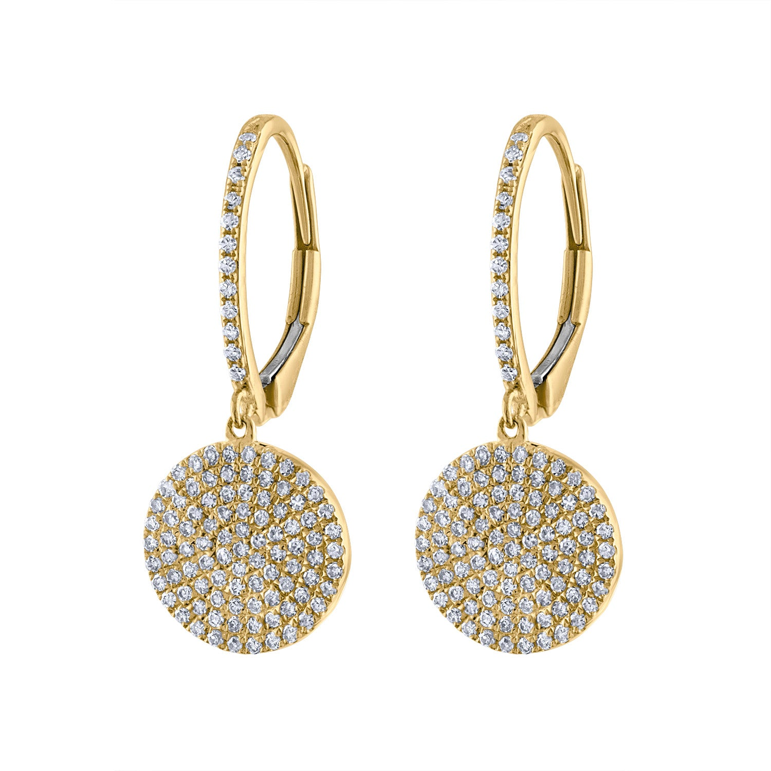 14k Yellow Gold diamond pave disk earring