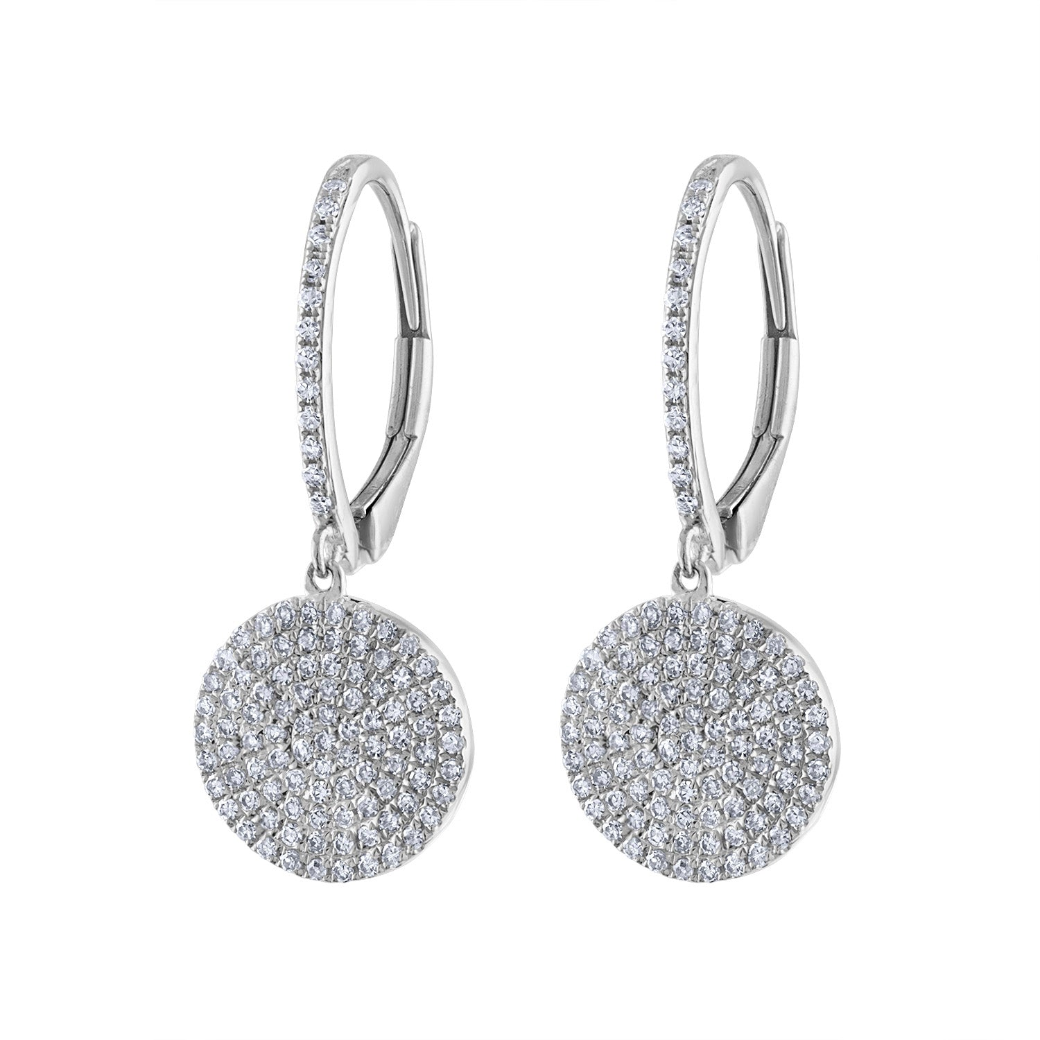 14k White Gold diamond pave disk earring
