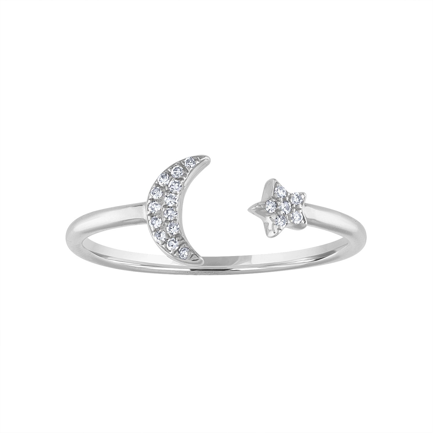 14KT GOLD DIAMOND MOON AND STAR CUFF RING
