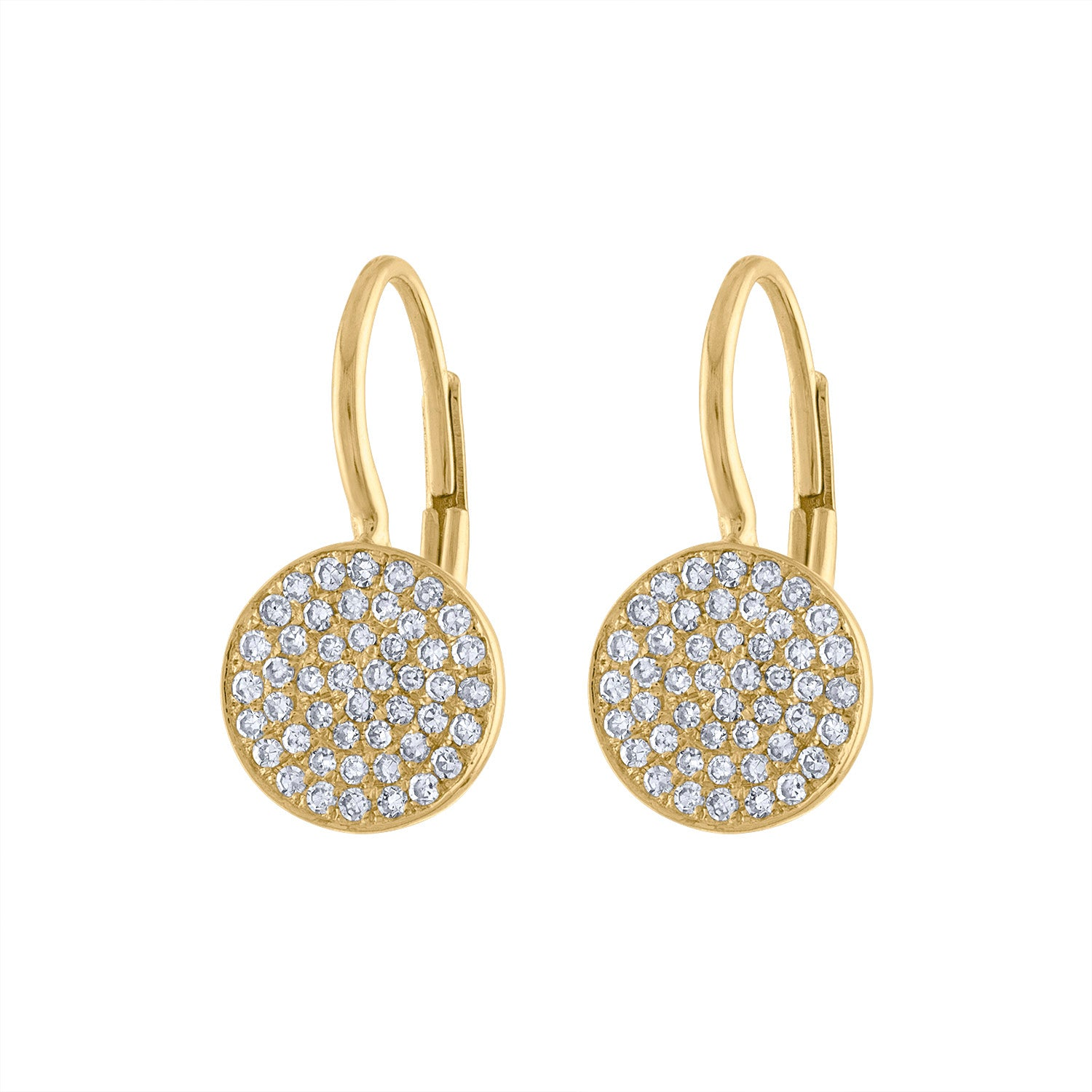 14KT GOLD PAVE DIAMOND MEDIUM DISK EARRING
