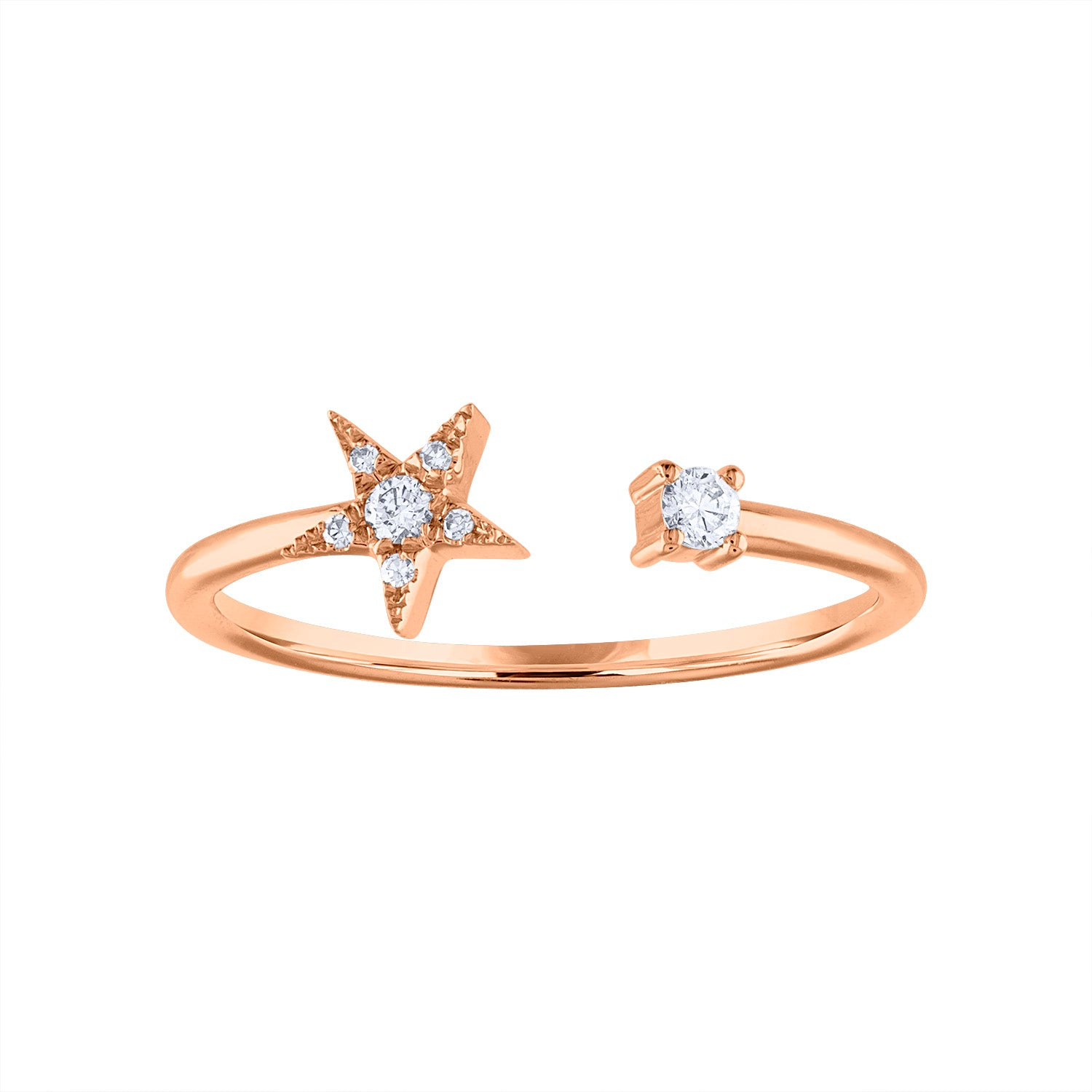 14KT GOLD DIAMOND STAR CUFF RING