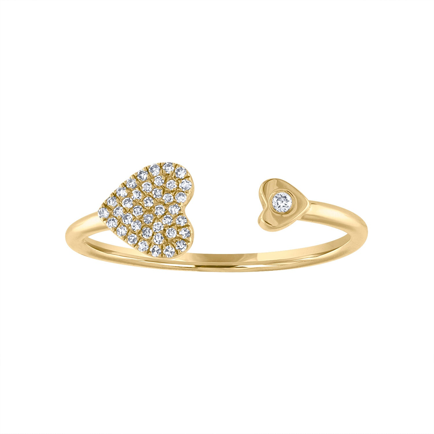 14KT GOLD DIAMOND PAVE HEART BEZEL SET CUFF RING