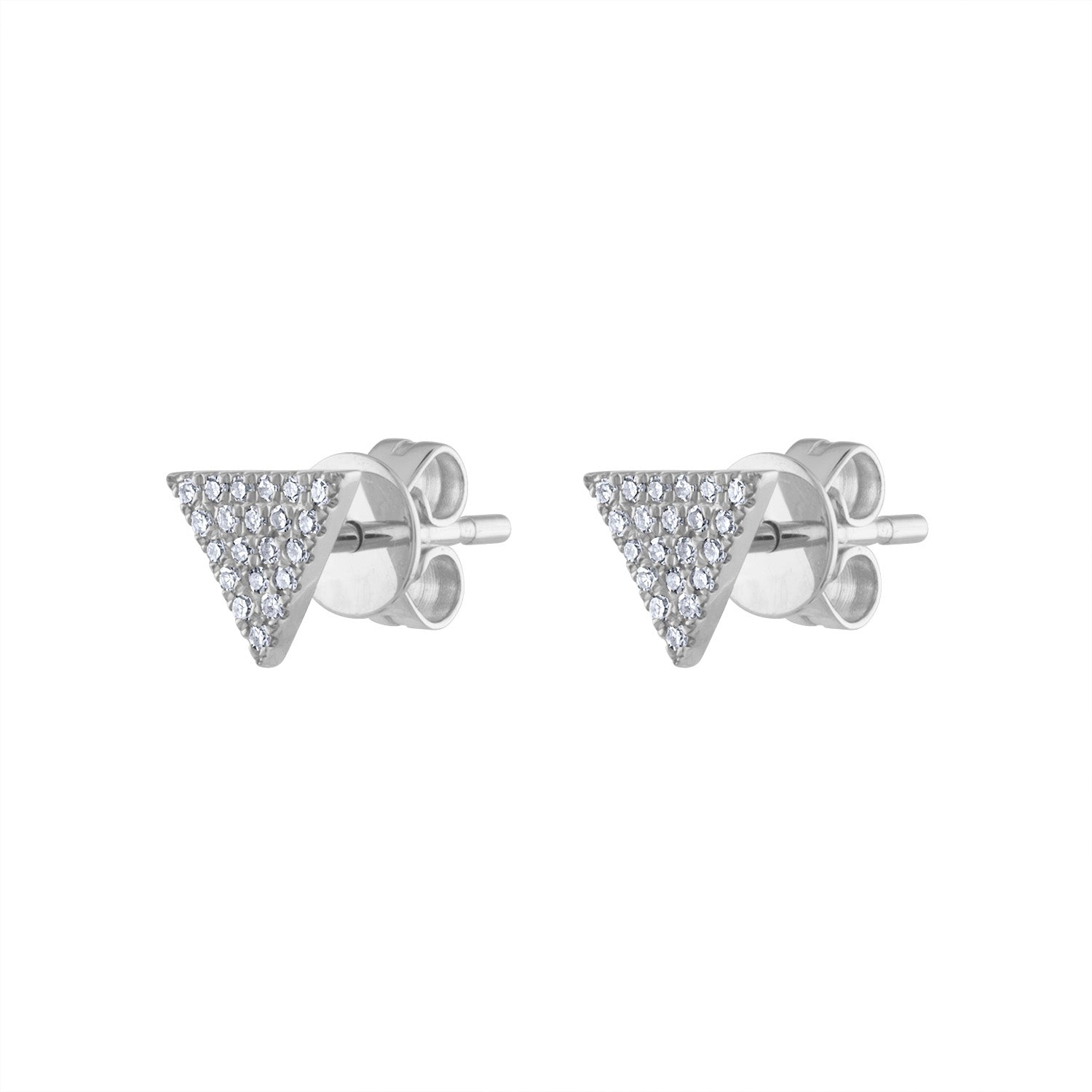 14KT GOLD PAVE DIAMOND TRIANGLE EARRING