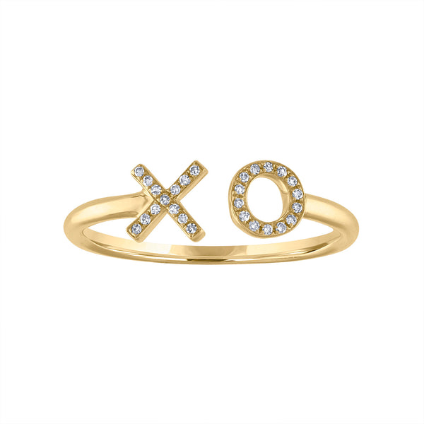 "14KT GOLD DIAMOND ""X O"" CUFF RING"