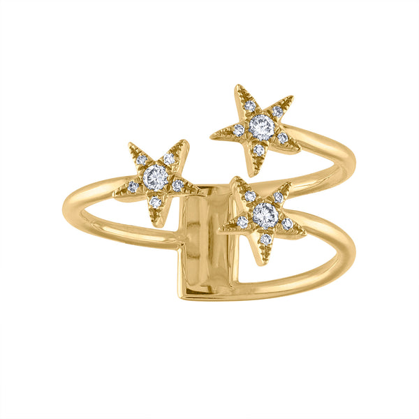14KT GOLD DIAMOND THREE STAR RING