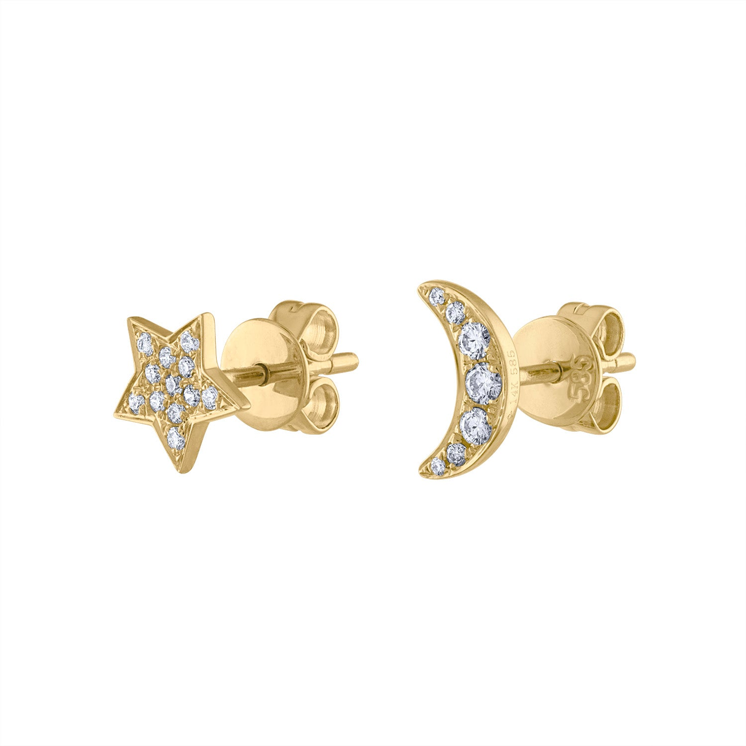14KT GOLD DIAMOND MOON AND STAR EARRING