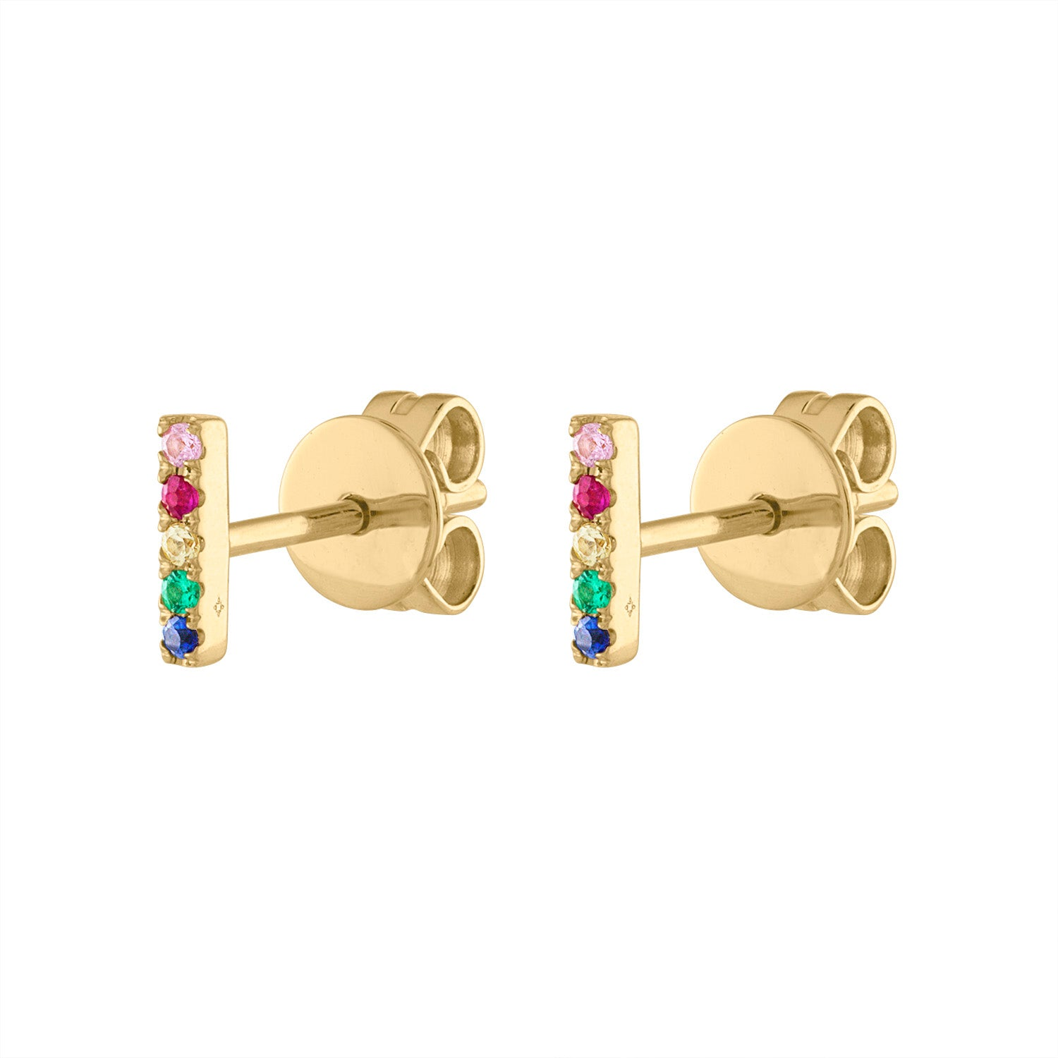 14KT GOLD MULTI-COLOR MINI BAR EARRING