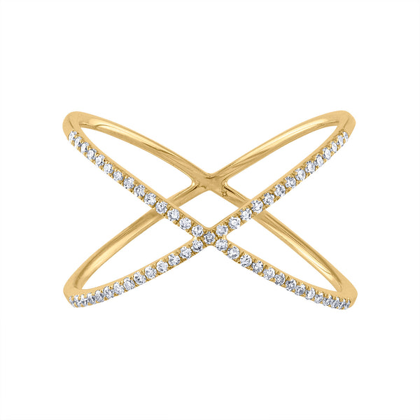 "14KT GOLD DIAMOND ""X"" RING"