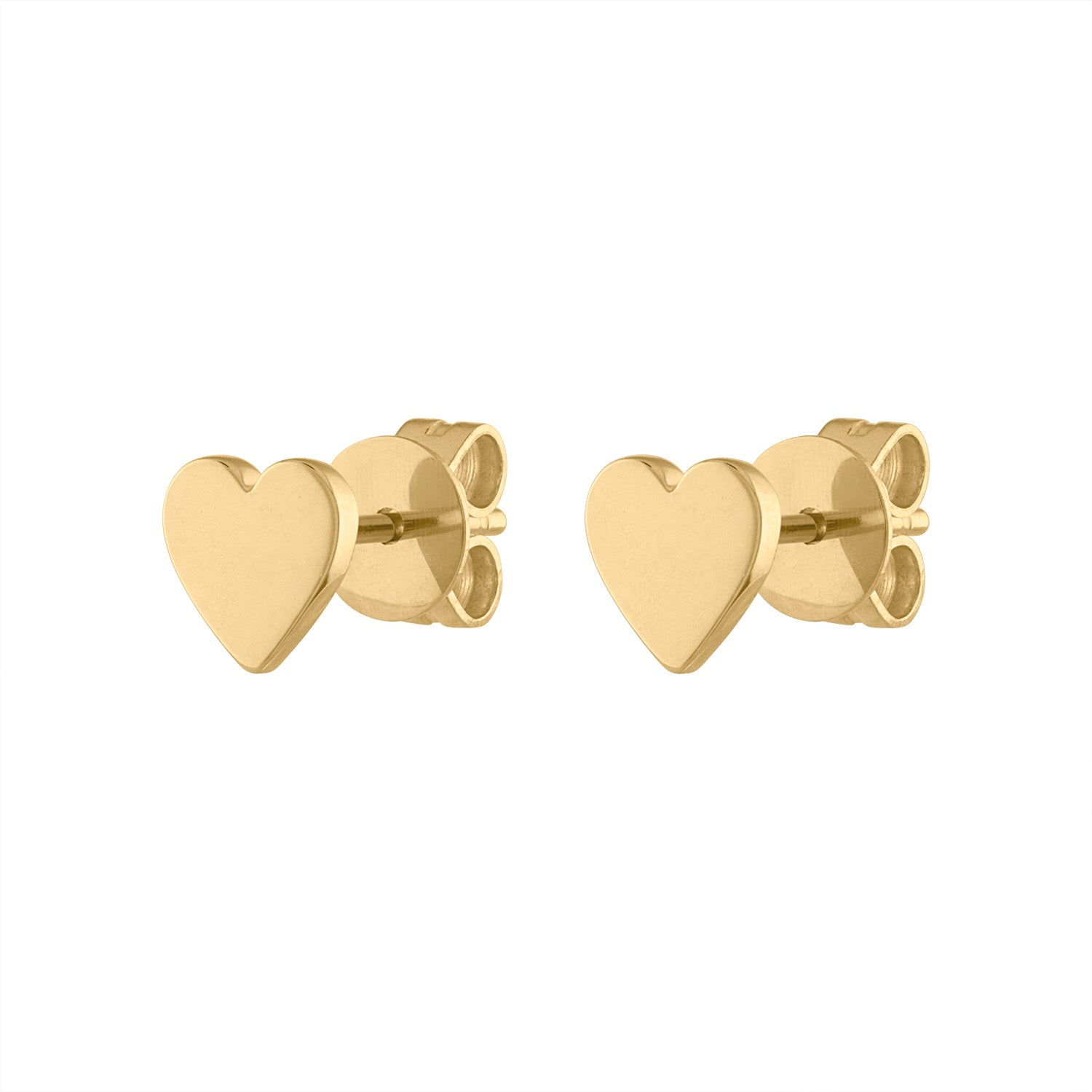 14KT GOLD PLAIN HEART EARRING