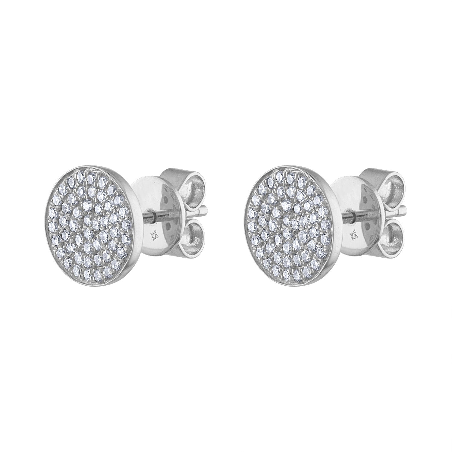 14k White Gold pave circle earring