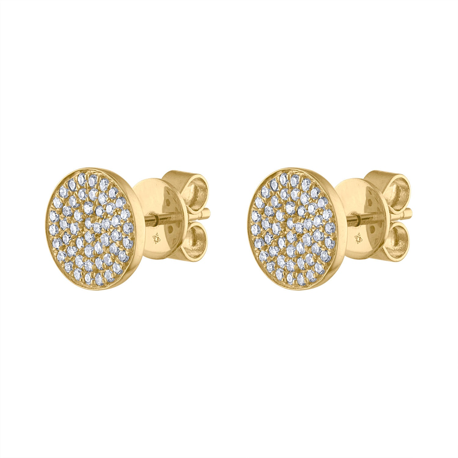 14k Yellow Gold pave circle earring