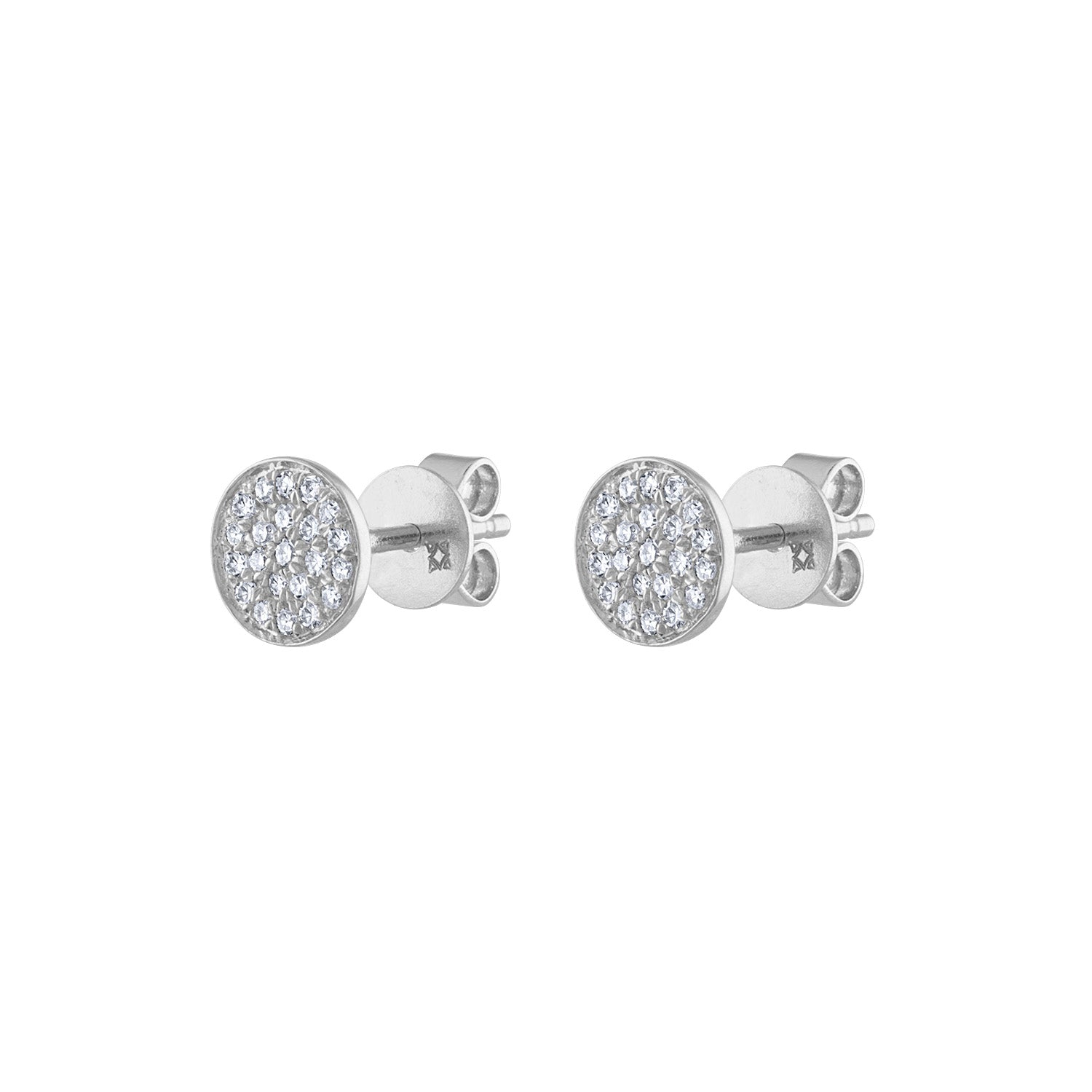 14k White Gold small pave circle earring