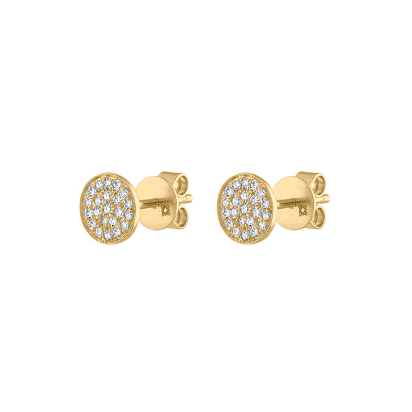 14k Yellow Gold small pave circle earring
