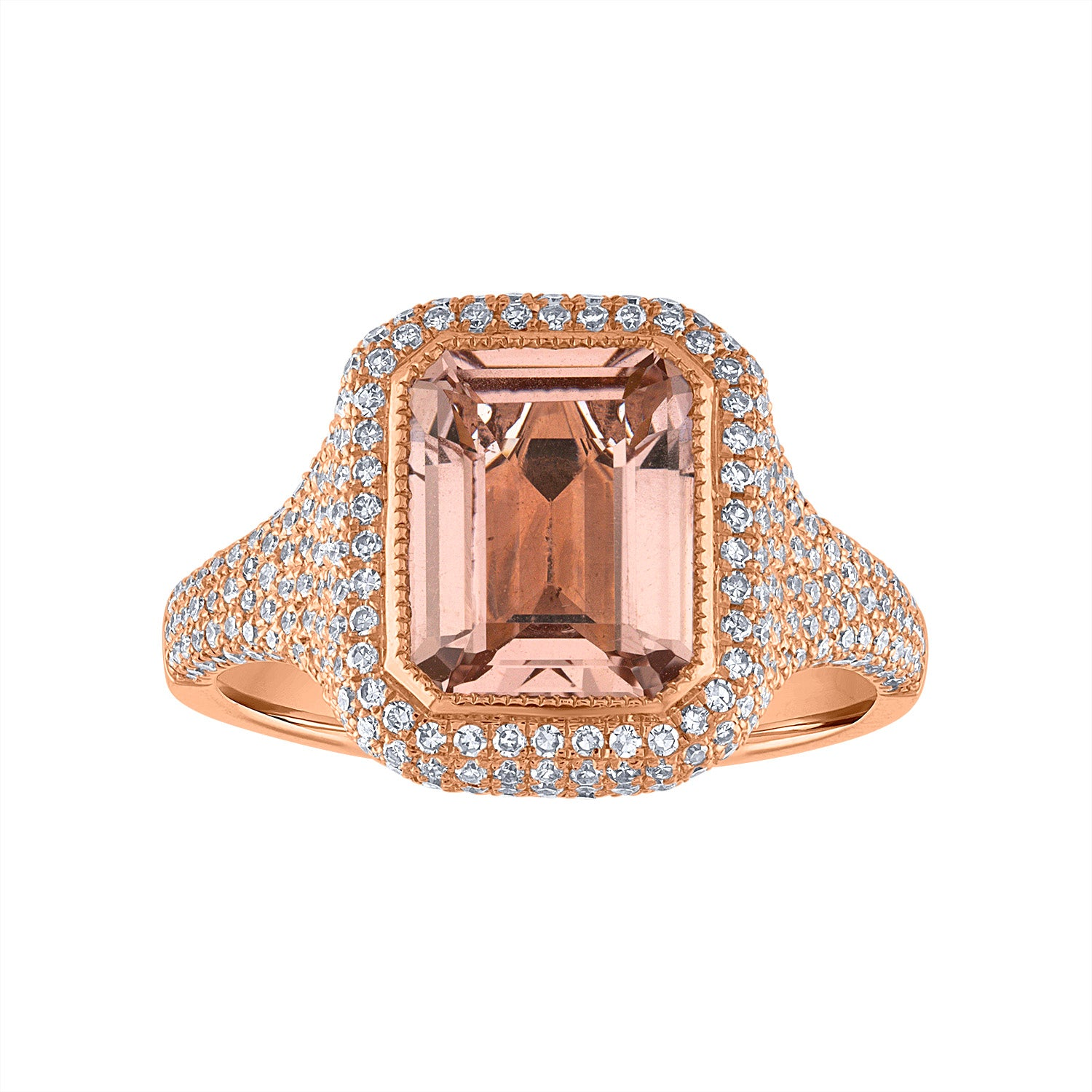 14KT GOLD MORGANITE AND DIAMOND RECTANGLE RING