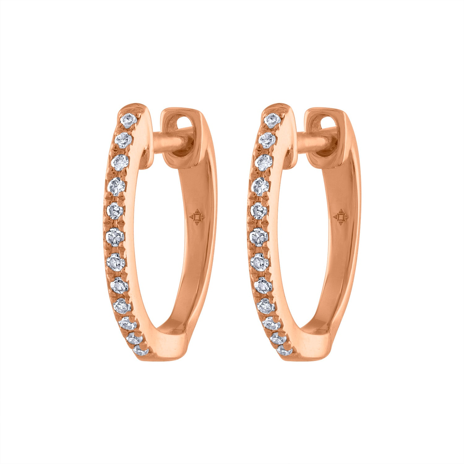 14KT GOLD SMALL DIAMOND HUGGIE EARRING