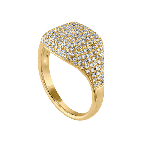 14KT GOLD DIAMOND SIGNET RING