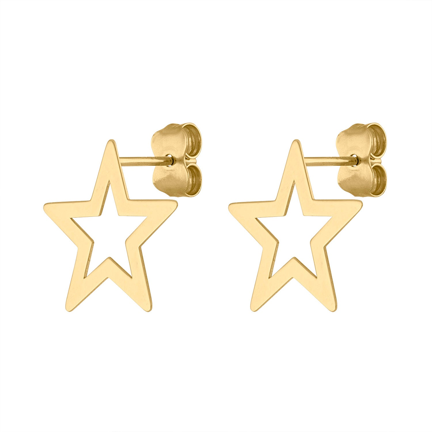 14KT GOLD OUTLINE STAR EARRING