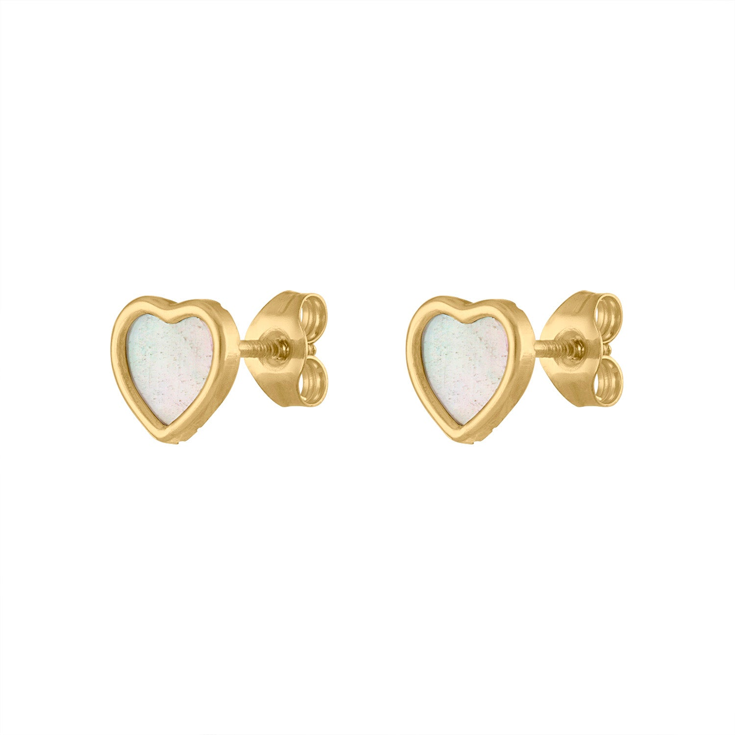 14KT GOLD MOTHER OF PEARL SMALL HEART STUD EARRING
