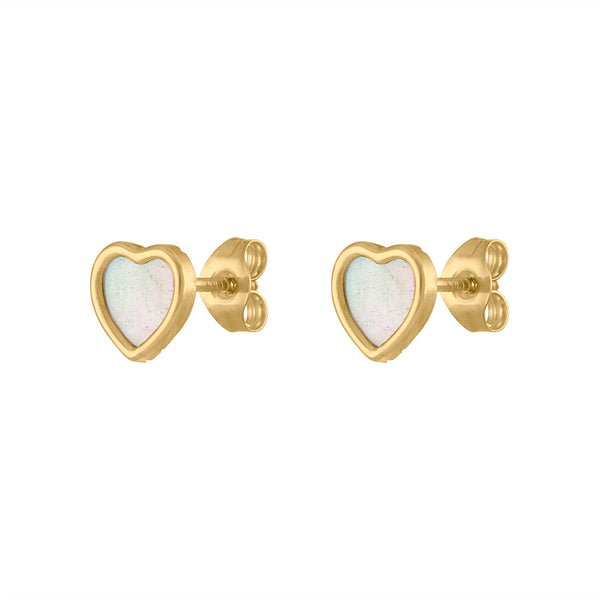 14KT GOLD MOTHER OF PEARL HEART STUD EARRING