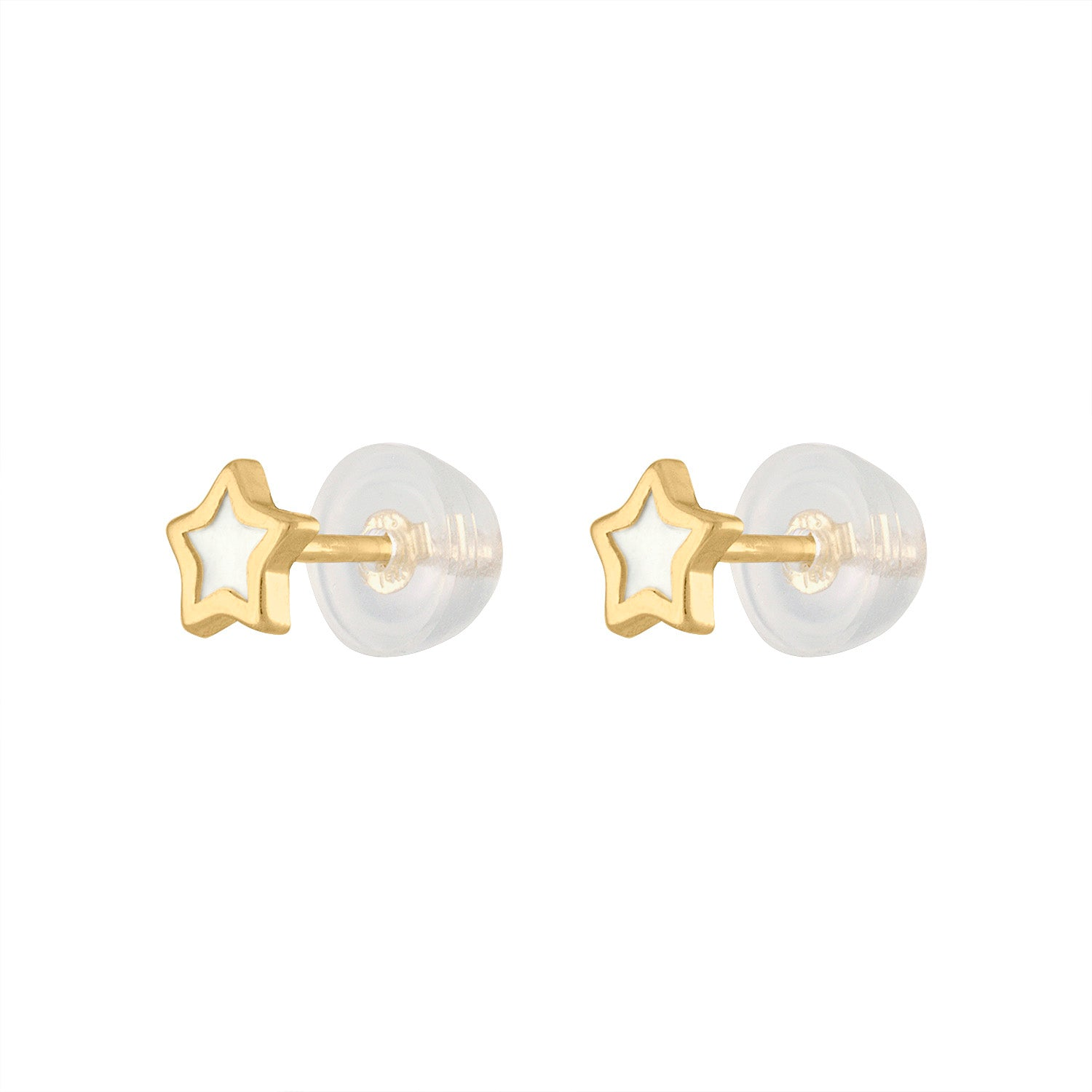 14KT GOLD MOTHER OF PEARL MINI STAR STUD EARRING