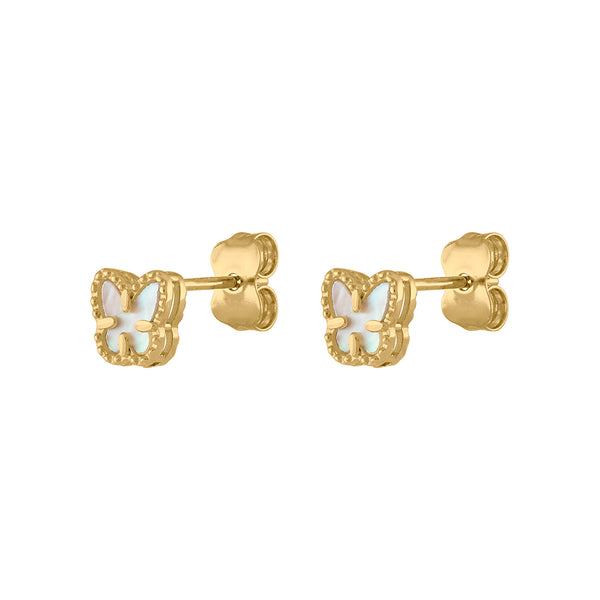 14KT GOLD MOTHER OF PEARL MINI BUTTERFLY STUD EARRING