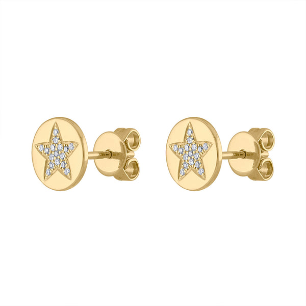 14KT GOLD PAVE DIAMOND STAR ON DISK STUD EARRING