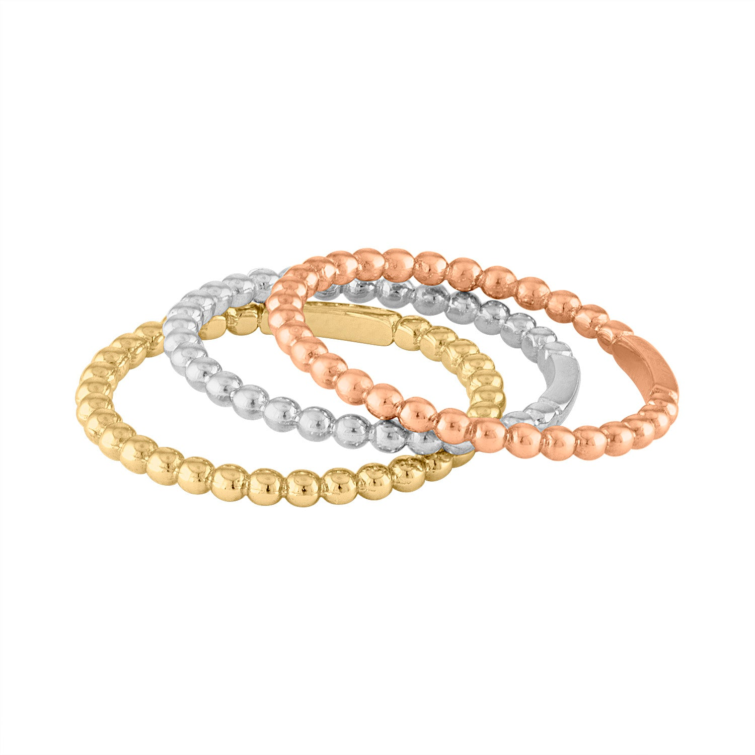 14KT GOLD SET OF 3 BEAD RINGS