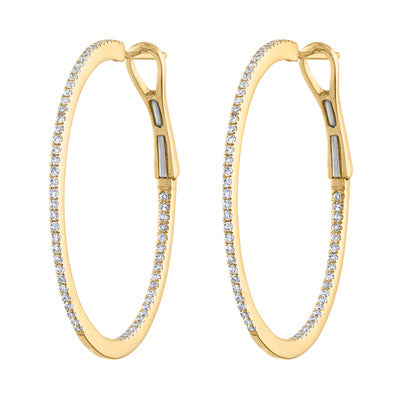 14KT GOLD SMALL-MEDIUM DIAMOND HOOP EARRING