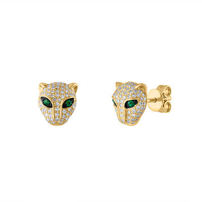 14KT YELLOW GOLD DIAMOND AND EMERALD PANTHER EARRING