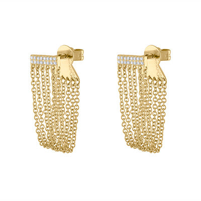 14KT GOLD DIAMOND BAR AND CHAIN EARRING
