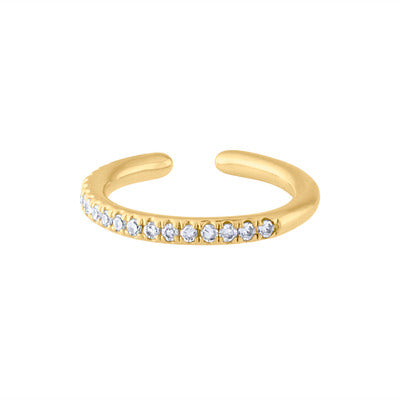 14KT GOLD DIAMOND SMALL ROUND EDGE EAR CUFF