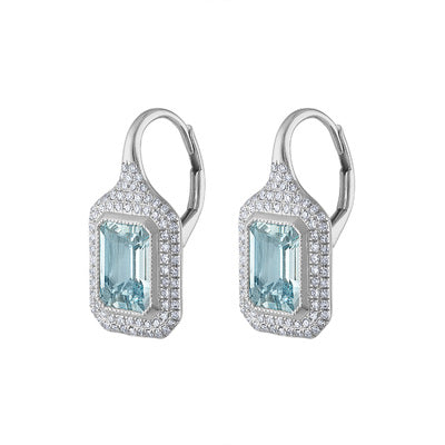 14KT GOLD DIAMOND AND EMERALD CUT AQUAMARINE EARRING