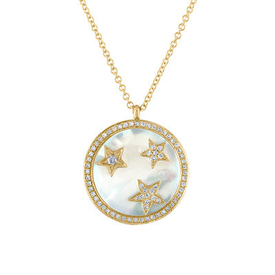 14KT GOLD DIAMOND STARS ON MOTHER OF PEARL DISK NECKLACE