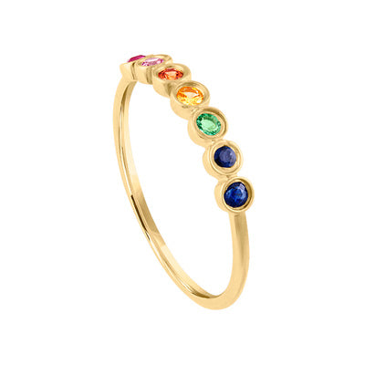 14KT GOLD BEZEL SET MULTI-GEMSTONE RING