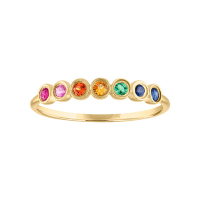 14KT GOLD BEZEL SET MULTI-COLOR GEMSTONE RING