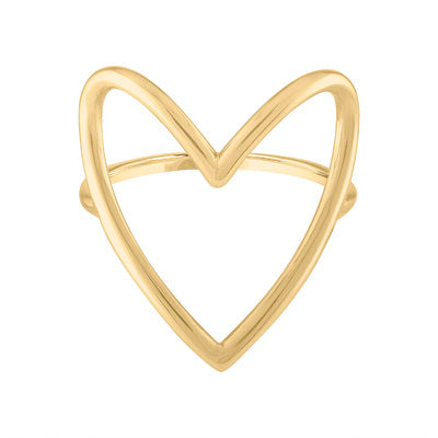 14KT GOLD LARGE OPEN HEART RING