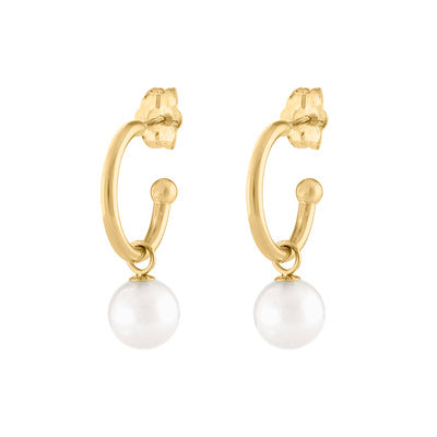 14KT GOLD SMALL HOOP WITH DANGLING PEARL EARRING