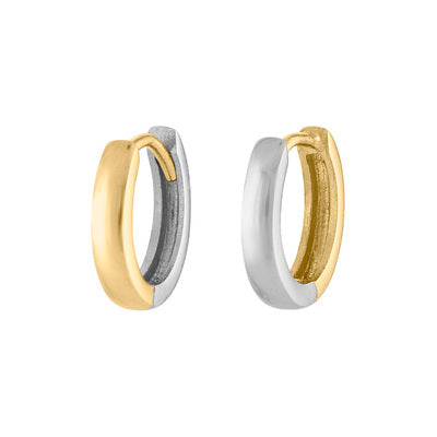 14KT GOLD TWO-TONE REVERSIBLE HUGGIE EARRING