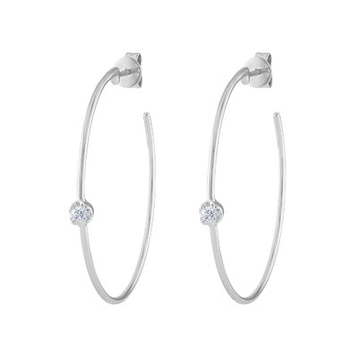 14KT GOLD SINGLE BEZEL SET DIAMOND MEDIUM HOOP EARRING