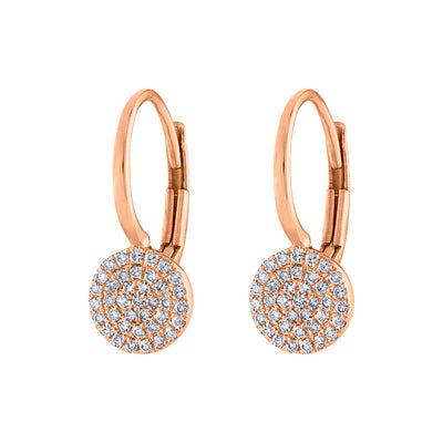 14KT GOLD PAVE DIAMOND SMALL DISK EURO-WIRE EARRING