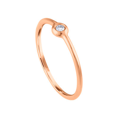 14KT GOLD BEZEL SET SMALL DIAMOND RING