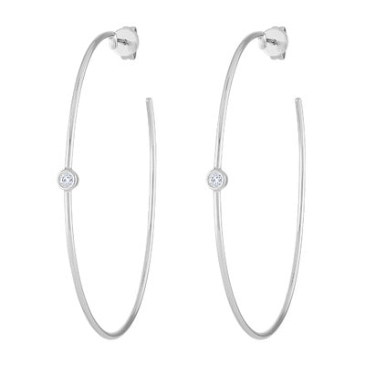 14KT GOLD SINGLE BEZEL SET DIAMOND LARGE HOOP EARRING