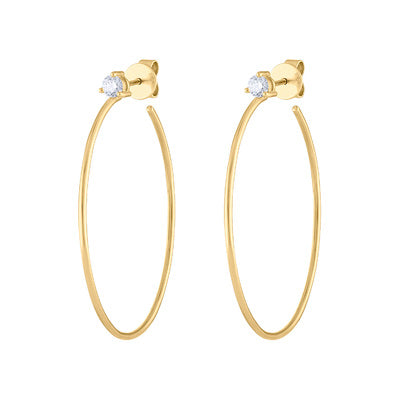 14KT GOLD THREE PRONG DIAMOND HOOP EARRING