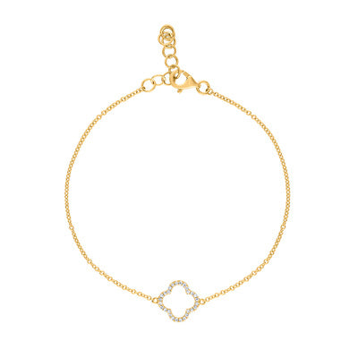 14KT GOLD DIAMOND OPEN CLOVER BRACELET